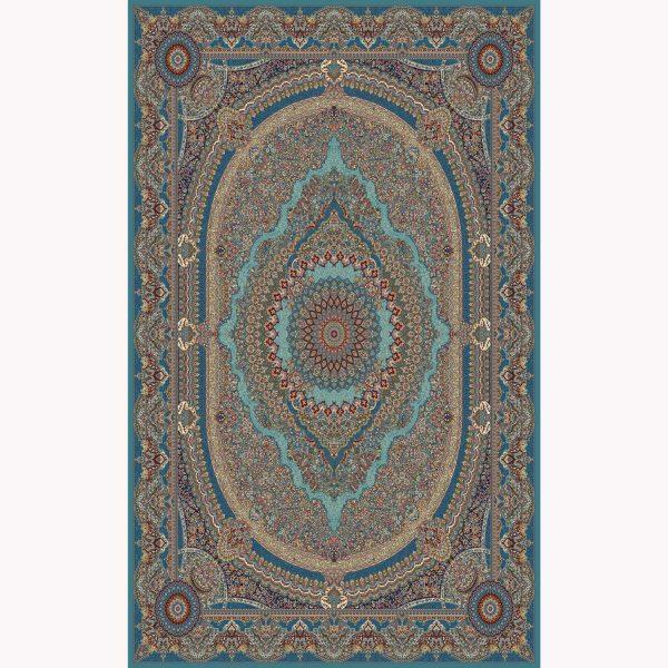 فرش ماشینی کرمان کد ۶۱۰۰ آبی