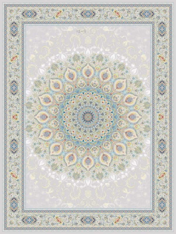 فرش اشرافی کد ۱۵۰۵ نقره ای