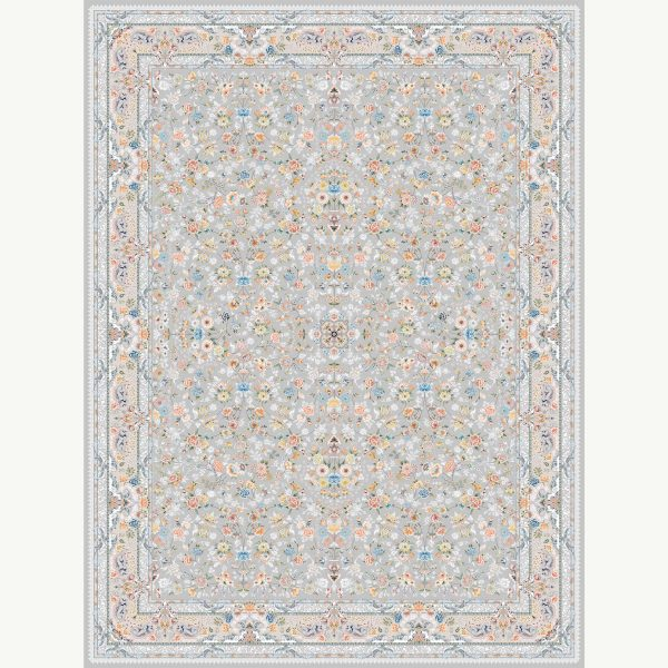 فرش ماشینی اشرافی کد ۱۵۹۷ نقره ای
